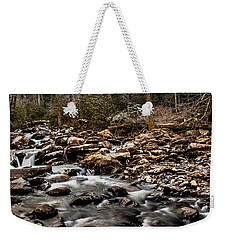 Weekender Tote Bag featuring the photograph Icy Mountain Stream by Debbie Green