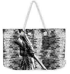 Mountaineer Statue With Black And White Brick Background Weekender Tote Bag by Dan Friend