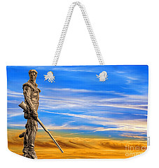 Mountaineer Statue With Blue Gold Sky Weekender Tote Bag by Dan Friend