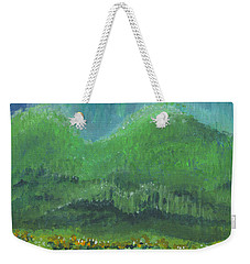 Weekender Tote Bag featuring the painting Mountains At Night by Holly Carmichael