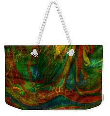 Weekender Tote Bag featuring the mixed media Mountains In The Rain by Ally  White