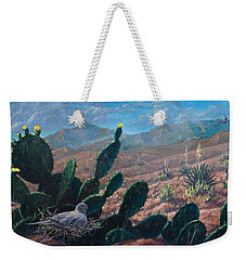 Weekender Tote Bag featuring the painting Mourning Dove Desert Sands by Rob Corsetti