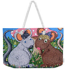 Weekender Tote Bag featuring the painting Mouse World by Megan Walsh