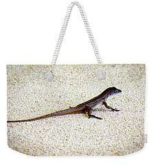 Weekender Tote Bag featuring the photograph Mr. Gecko by Pennie  McCracken