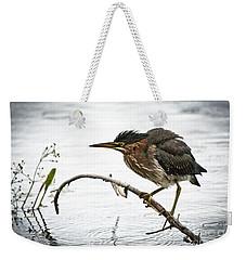 Mr. Green Heron Weekender Tote Bag by Cheryl Baxter