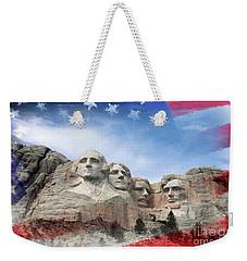 Mt Rushmore Flag Frame Weekender Tote Bag