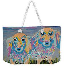 Mugi And Tatami - Contemporary Dachshunds Dog Art Weekender Tote Bag