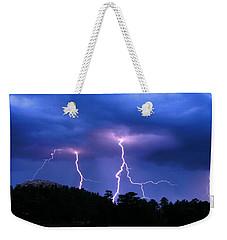 Weekender Tote Bag featuring the photograph Multi Arc Lightning Strike by Craig T Burgwardt