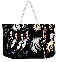 Weekender Tote Bag featuring the photograph Multiple Johnny Cash In Trench Coat 1 by David Lee Guss