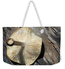 Weekender Tote Bag featuring the photograph Mushroom On Stump by Tina M Wenger