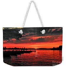Muskoka Sunset Weekender Tote Bag by Les Palenik