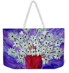 Weekender Tote Bag featuring the painting My Daisies Blue Version by Ramona Matei