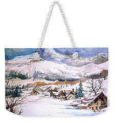 My First Snow Scene Weekender Tote Bag by Alban Dizdari