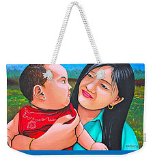 Weekender Tote Bag featuring the mixed media My Mom by Cyril Maza
