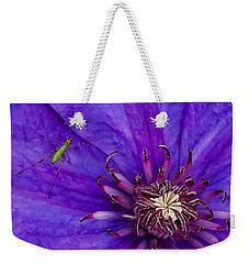 Weekender Tote Bag featuring the photograph My Old Clematis Home by Kristi Swift