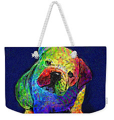 My Psychedelic Bulldog Weekender Tote Bag by Jane Schnetlage