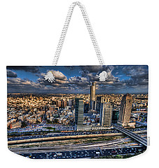 Weekender Tote Bag featuring the photograph My Sim City by Ron Shoshani