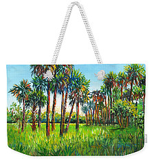 Weekender Tote Bag featuring the painting Myakka Palms by Lou Ann Bagnall