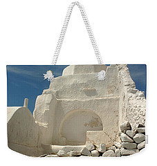 Weekender Tote Bag featuring the photograph Mykonos Church by Vivian Christopher