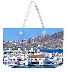 Mykonos Port Weekender Tote Bag by Corinne Rhode