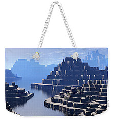 Weekender Tote Bag featuring the digital art Mysterious Terraced Mountains by Phil Perkins