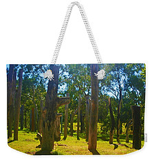 Weekender Tote Bag featuring the photograph Mysterious Totems by Mark Blauhoefer