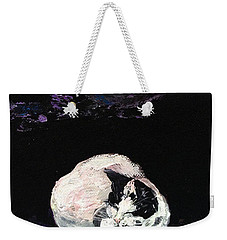 Weekender Tote Bag featuring the painting Mystic Cat Nap  by Reina Resto