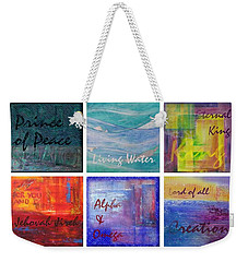 Weekender Tote Bag featuring the painting Names Of God by Jocelyn Friis