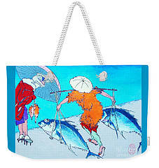 Weekender Tote Bag featuring the painting Nani Wa Ryoshi O Shiawaseni Suru by Roberto Prusso