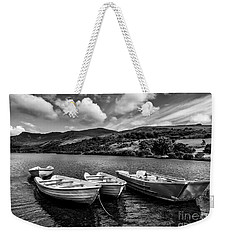 Weekender Tote Bag featuring the photograph Nantlle Uchaf Boats by Adrian Evans