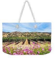 Napa Valley Vineyard With Cosmos Weekender Tote Bag