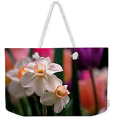 Narcissus And Tulips Weekender Tote Bag by Rona Black