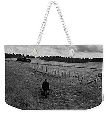 Weekender Tote Bag featuring the photograph Narrow Gauge Rr Conductor Mcnary Arizona Ft. Apache Indian Reservation 1969 by David Lee Guss