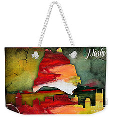 Nashville Skyline And Map Watercolor Weekender Tote Bag by Marvin Blaine