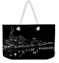 Nashville Skyline At Night In Black And White Weekender Tote Bag