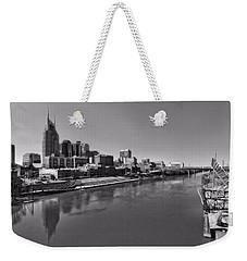 Nashville Skyline In Black And White At Day Weekender Tote Bag