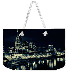 Nashville Skyline Reflected At Night Weekender Tote Bag by Dan Sproul
