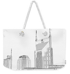 Nashville Skyline Sketch Batman Building Weekender Tote Bag by Dan Sproul