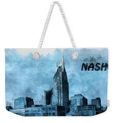 Nashville Tennessee In Blue Weekender Tote Bag by Dan Sproul
