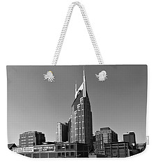 Nashville Tennessee Skyline Black And White Weekender Tote Bag by Dan Sproul