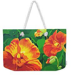 Weekender Tote Bag featuring the painting Nasturtiums by Karen Ilari
