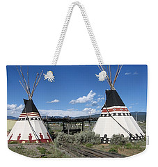 Weekender Tote Bag featuring the photograph Native American Teepees by Dora Sofia Caputo Photographic Art and Design