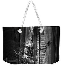 Native Flowers In Vase And Ruffled Curtains Weekender Tote Bag by Lynn Palmer
