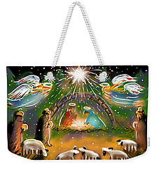 Weekender Tote Bag featuring the painting Nativity by Jean Pacheco Ravinski