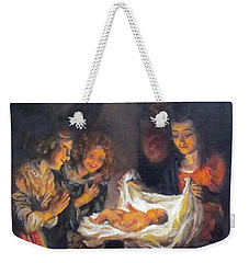 Weekender Tote Bag featuring the painting Nativity Scene Study by Donna Tucker