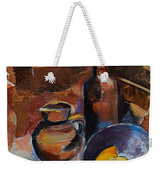 Weekender Tote Bag featuring the painting Still Life Sepia by Elise Palmigiani