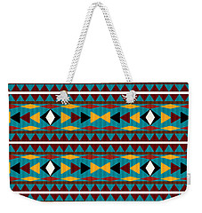 Navajo Teal Pattern Weekender Tote Bag