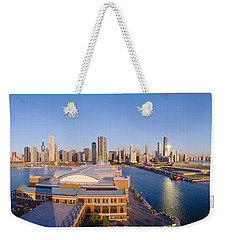Navy Pier, Chicago, Morning, Illinois Weekender Tote Bag by Panoramic Images