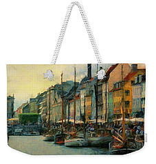 Weekender Tote Bag featuring the painting Nayhavn Street by Jeff Kolker