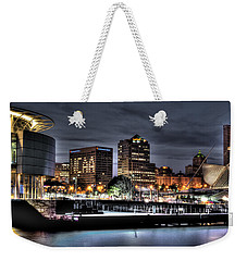 Weekender Tote Bag featuring the photograph Ncaa In Lights by Deborah Klubertanz